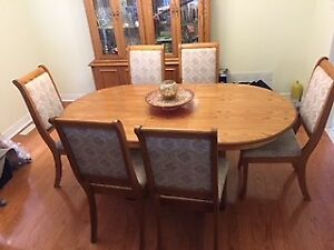 Dinning Table with Matching 6 Chairs, Hutch & Chest Set for Sale