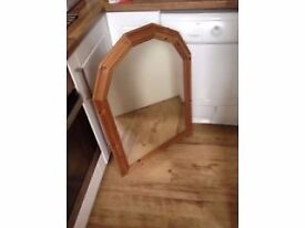 Large pine framed angled mirror