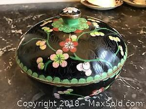 Antique Chinese cloisonne covered dish.