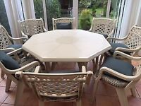 8 seater octagonal table and chairs
