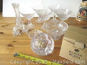 Vintage Crystal Lot With A Kosta Boda Snow Ball Candle Holder (glass).