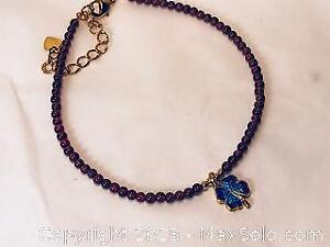 Beaded Pyrope Garnet Anklet with Charm