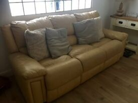 Leather 3 Piece Suite inc Fully Reclining Chair