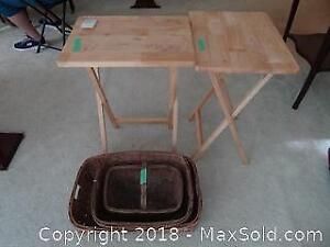 Antique Baskets And TV Tables