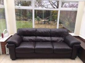 Sofa-Leather three seater-Free