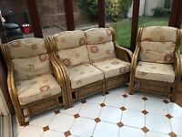 Wicker Conservatory Garden Patio Furniture Set, 3 pcs