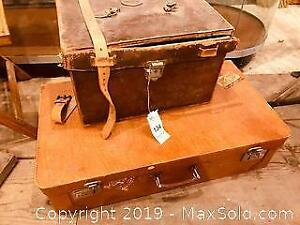 Old Leather Fitted Case and Vintage Suitcase