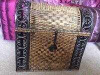Wicker and Metal crafted Storage Chest.