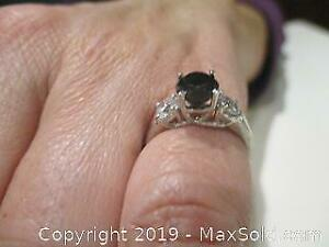 Stamped 14K White Gold, Black Diamond Engagement Ring. Round Brilliant Cut. Comes With COA Certified Insurance Appraisal