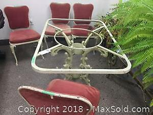 Metal Table Frame And 4 Chairs B