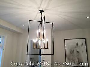 Black And Gold XL 12 Light Cage Chandelier