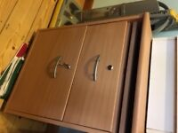 TWO DRAWER BEECH EFFECT LOCKING FILING CABINET 390d x482w X 660h