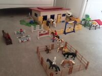 Fantastic set of Schleich Horse stable and trailer and horses for sale