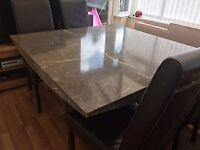 Marble dining table & 4 leather chairs