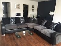 Black and grey corner sofa, first to see will buy