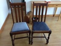 2 Oak chairs free to collector