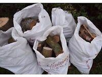 firewood ash logs seaoned large sacks