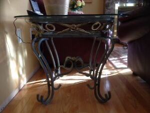Glass End Tables & Baker's Rack For Sale