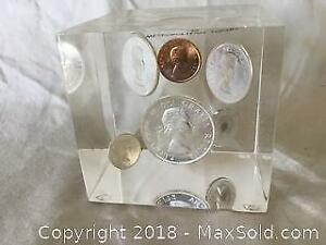 1963 Canadian Silver Coins In Lucite A