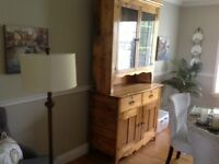 Antique hardwood buffet and hutch