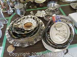 Silver Plate And Metal Servers And Utensils - A