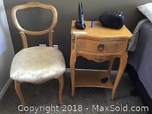 Vintage Night Stand and Chair A