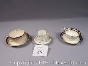 Alfred Meakin 4 Cups And Saucers Gold Leaf And Flower Pottery Pottery, Porcelain & Glass