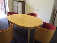 Extending Office / Board Room Table with 4 chairs
