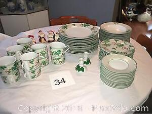 Christmas Including Plates, Cups, Side Plates, Bowls, Salt n' Pepper Shakers, And Candlesticks.