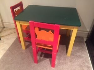 Solid table and two chair set
