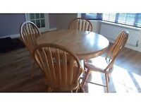 Solid pine wood dining table with 4 chairs for £45 only