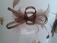 Light Brown Fascinator: As new. £8