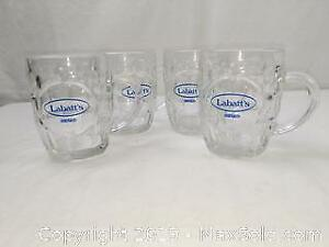 Set of 4 Labatts Award Beer Glasses with Handles