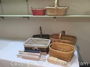 Baskets And Rolling Pin Lot