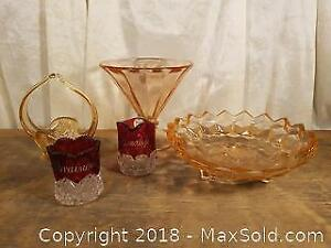 Antique Ruby Glass and Pink Depression Glass