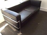 LE CORBUSIER LEATHER AND CHROME SOFA