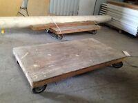 Industrial trollies, scrap wood