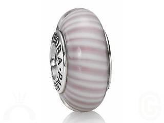 Discontinued Pandora Pink Striped Murano Glass Silver Charm