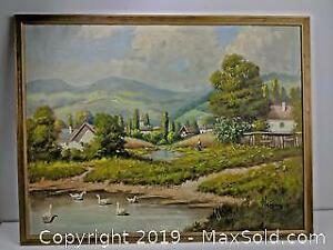 Oil on Canvas, Village Scene