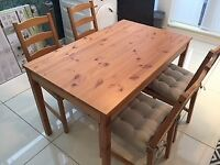 GREAT CONDITION Ikea Jokkmokk table and chairs with John Lewis seat pads