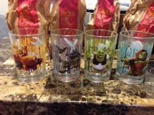 4 pieces of McD Collectable Shrek Glasses