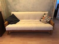 Solid oak frame 3-seater futon from Futon Company, with double sofa-bed mattress, good condition.
