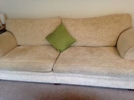 Four seater sofa and one armchair for sale - cream fabric, vgc
