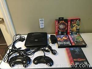 Sega Genesis System Console with 2 Controllers & 5 Games