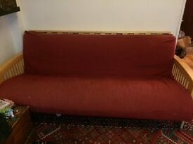 Maroon / Deep Red and pine futon London SW15