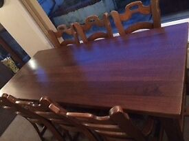 Dining table & 6 chairs - solid oak
