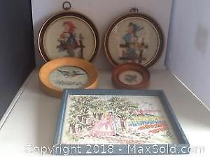 Lot Vintage Needlepoint And Petit Point Pictures