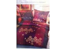 German High Quality: 2 x Bed linen Set in Dark Purple/Dark Pink in beautiful Design 135x200cm
