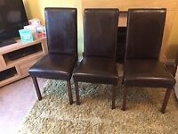 6 Barker & Stonehouse leather look & wood dining chairs