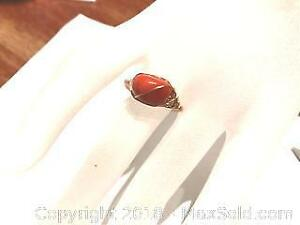 14K RG Filled Italian Red Coral Ring